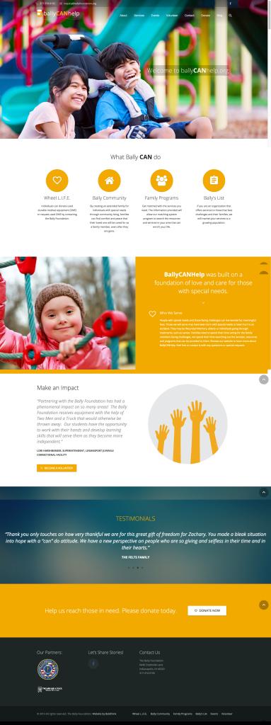 Bally Can Help website design for earned media
