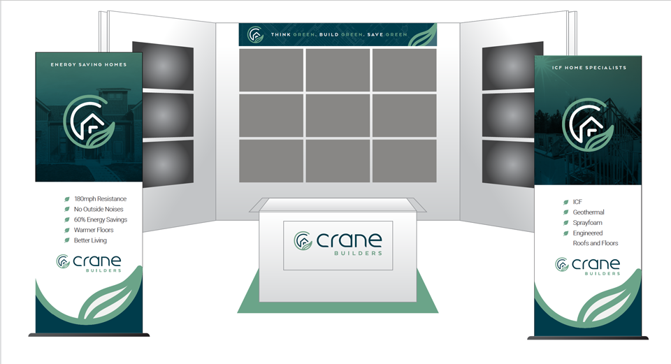 Mockup of Crane Builders Booth